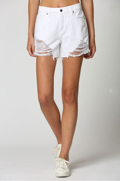Distressed Side Slit Mom Shorts white front | MILK MONEY milkmoney.co | Summer denim short. Distressed denim shorts, perfect trendy denim.