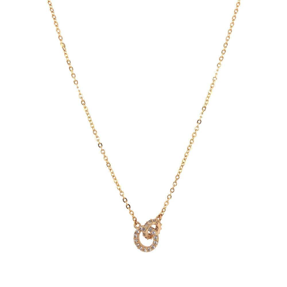 Double Circle Pavé Charm Necklace Gold MILK MONEY