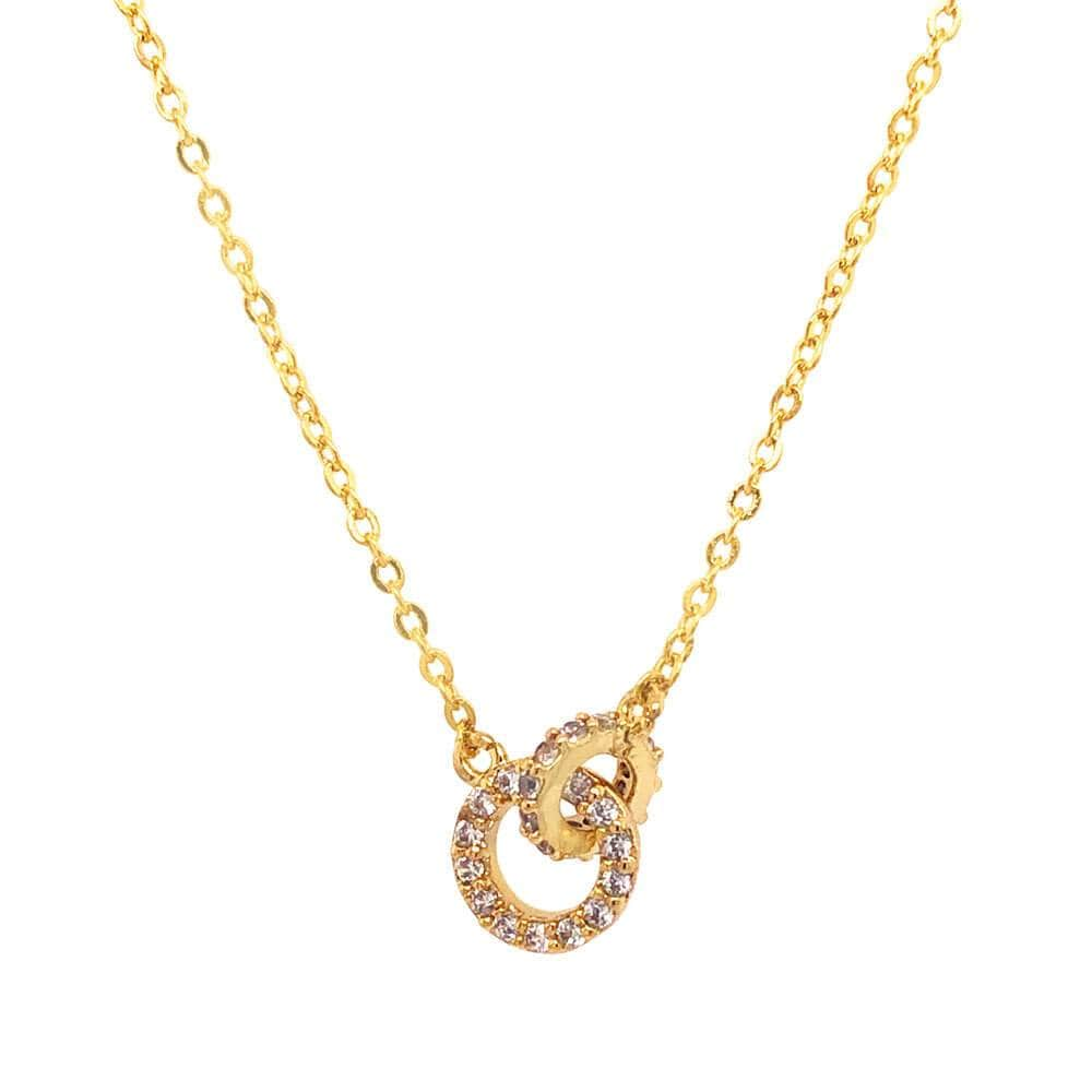Double Circle Pavé Charm Necklace gold detail MILK MONEY