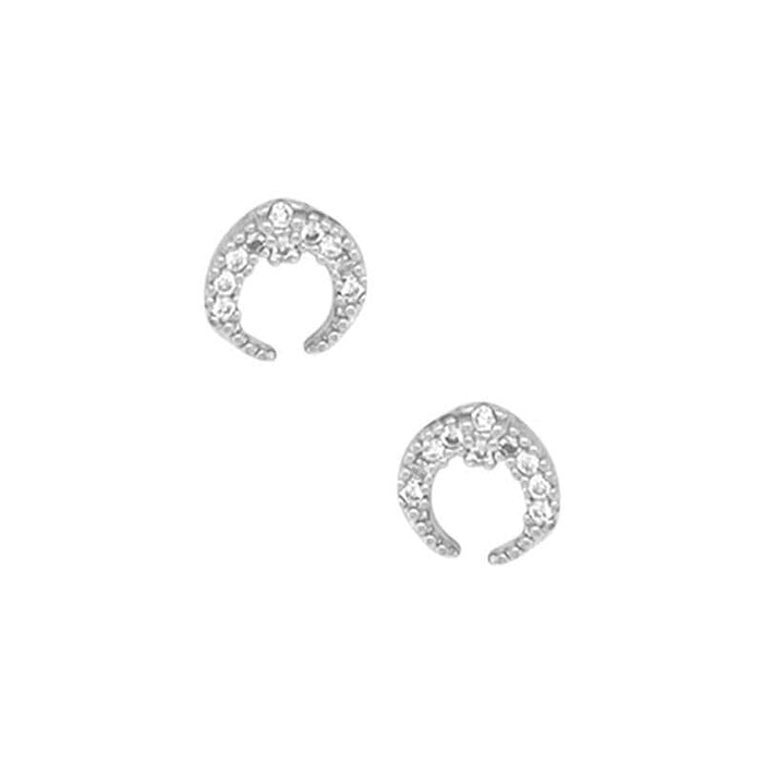 Double Horn Pave Stud Earrings silver front MILK MONEY