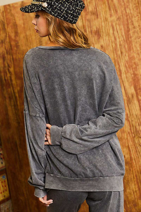 Women's Drop Shoulder Oversized Vintage Sweatshirt charcoal back | MILK MONEY | milkmoney.co