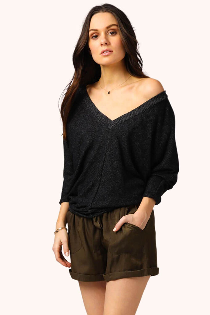 Easy V Neck Pullover Ribbed  Black MILK MONEY