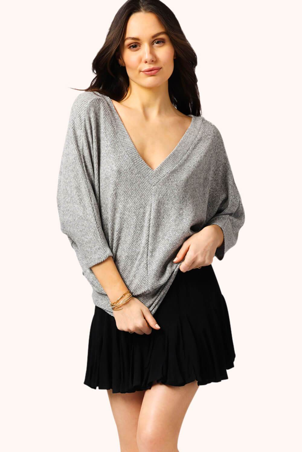 Easy V Neck Pullover Ribbed Grey MILK MONEY