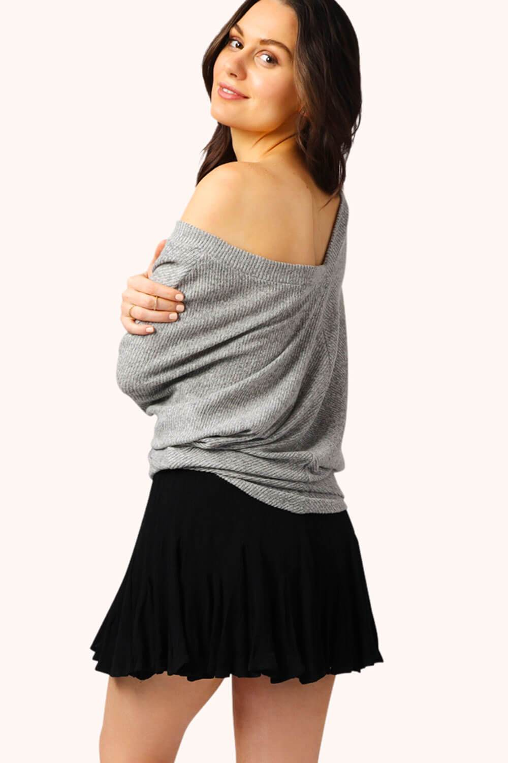 Easy V Neck Pullover Ribbed Grey MILK MONEY back