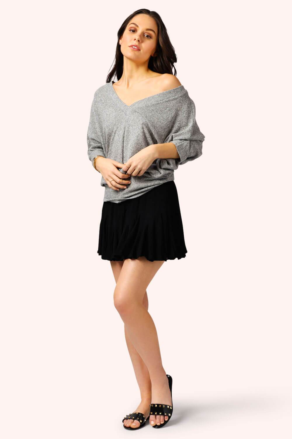 Easy V Neck Pullover Ribbed Grey MILK MONEY full