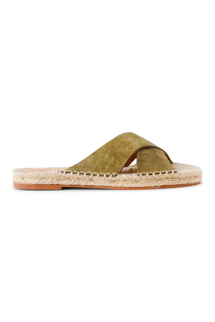 Ella Strap Woven Sole Sandal Green side - MILK MONEY
