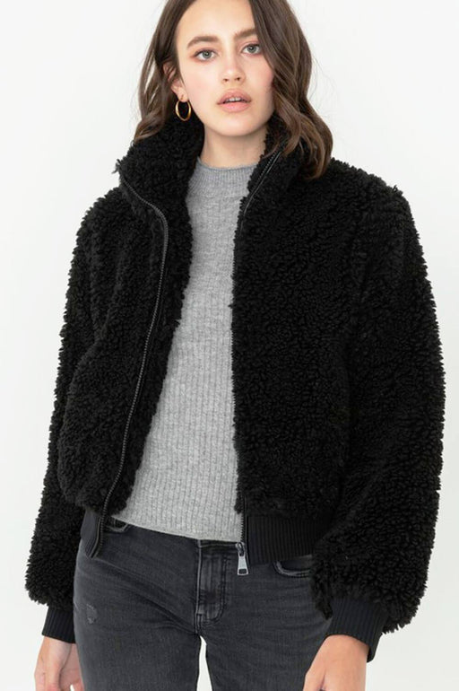 Ellie Teddy Bomber Jacket black front MILK MONEY