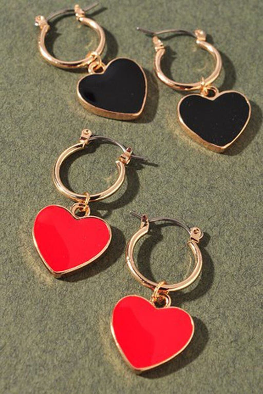 Enamel Heart Hoop Earrings red black group MILK MONEY