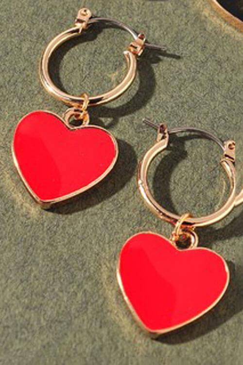Enamel Heart Hoop Earrings red MILK MONEY