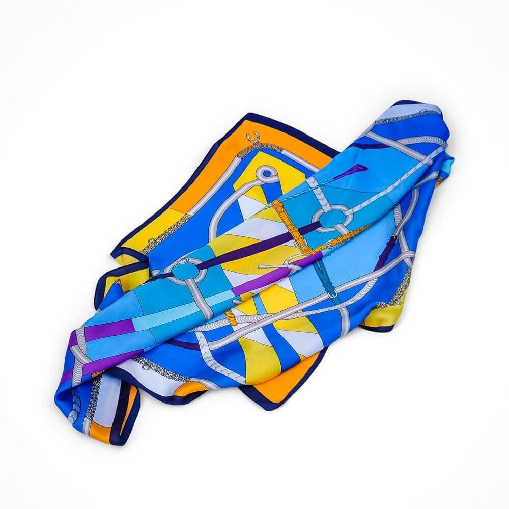 Equestrian Silk Scarf Blue - MILK MONEY