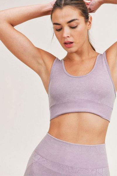 Essential Mineral-Washed Seamless Sports Bra nirvana front MILK MONEY