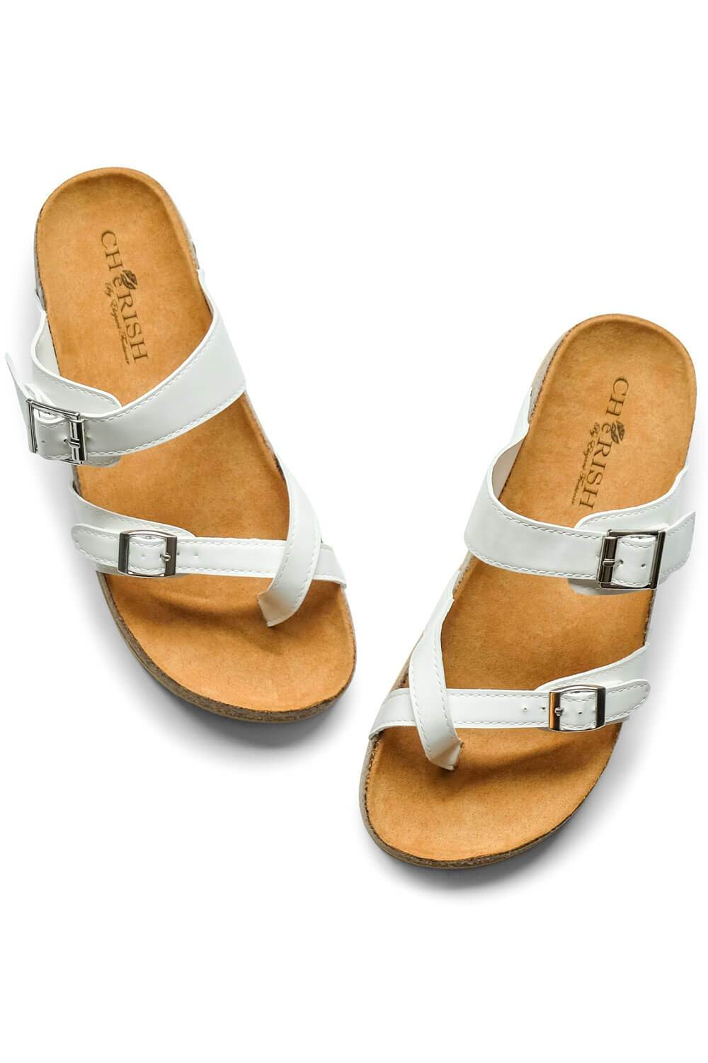 Estella Brik Sandal White - MILK MONEY