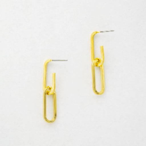 Everyday Double Paperclip Earrings gold MILK MONEY