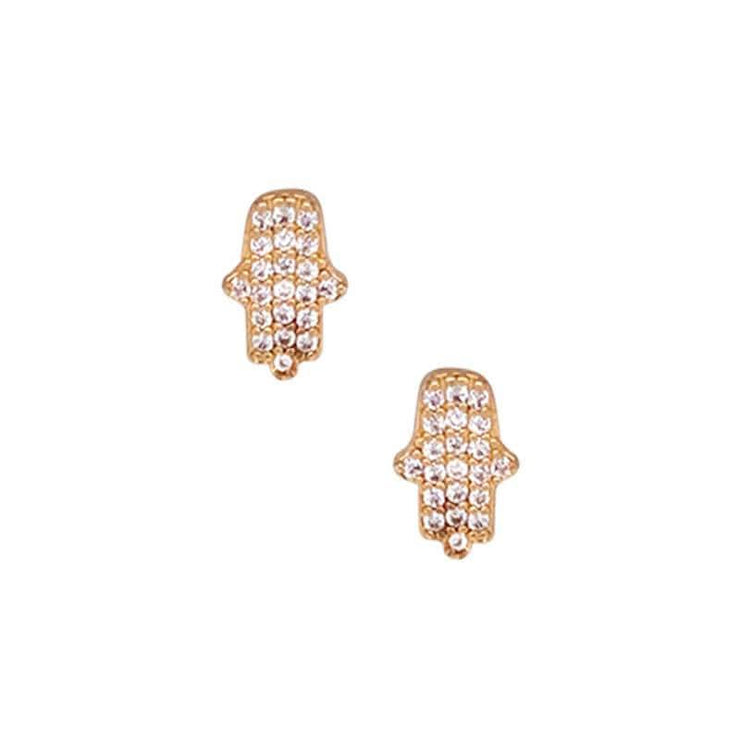 Everyday Hamsa Pave Stud Earrings gold front MILK MONEY