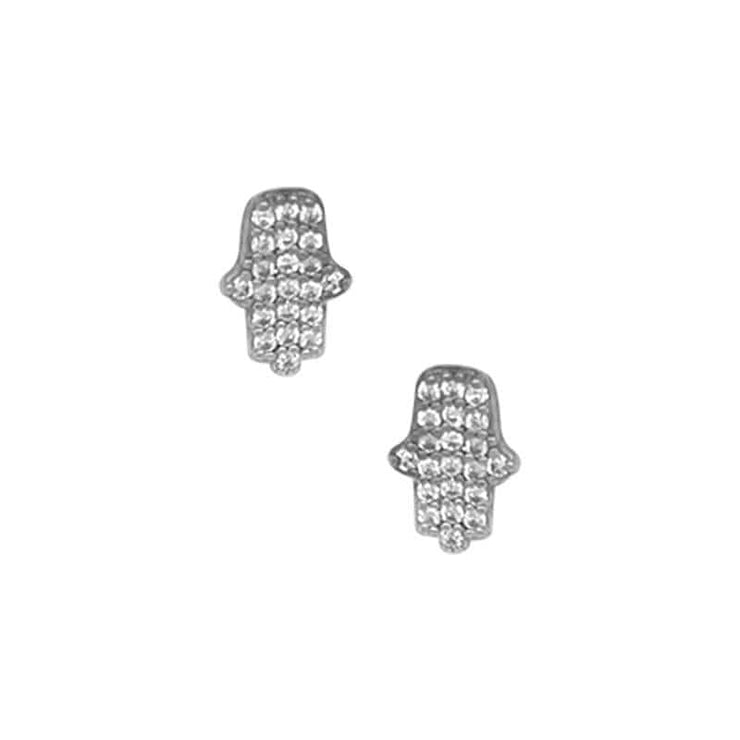 Everyday Hamsa Pave Stud Earrings silver front MILK MONEY