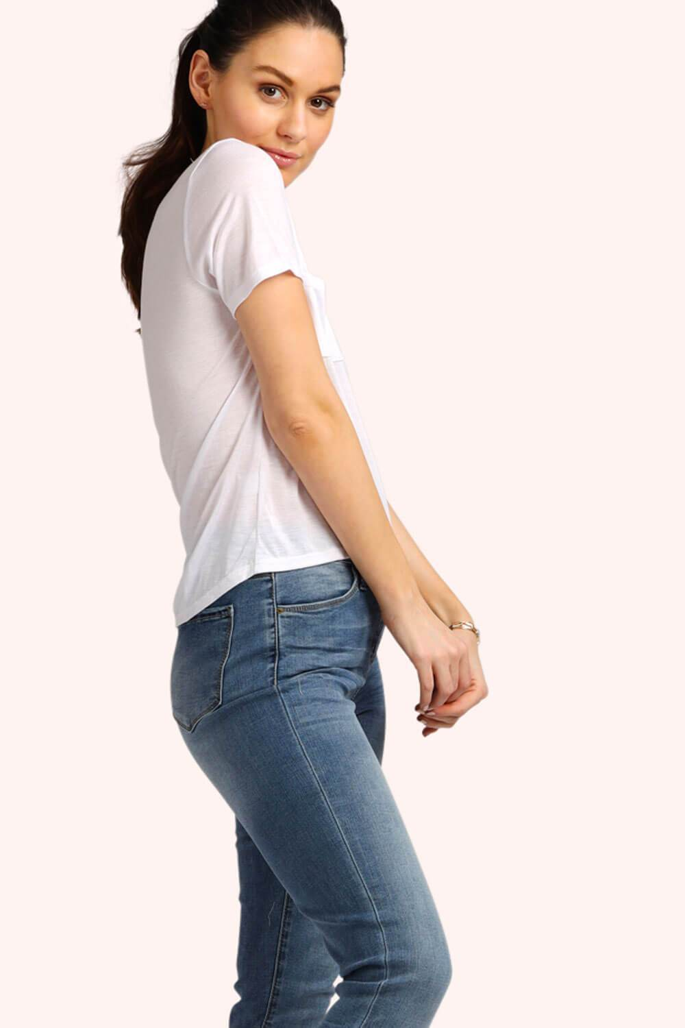 Everyday Slim Boyfriend V-Neck Tee White back MILK MONEY