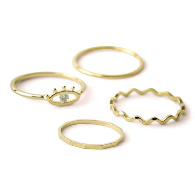 Evil Eye Ring Set Gold - MILK MONEY