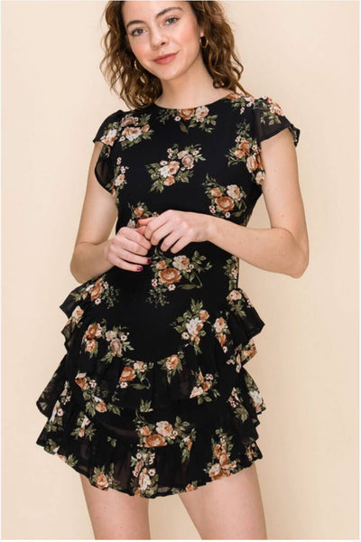 FLORAL PRINT RUFFLE DRESS WITH OPEN BACK DETAIL black MILK MONEY