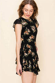 FLORAL PRINT RUFFLE DRESS WITH OPEN BACK DETAIL black side MILK MONEY