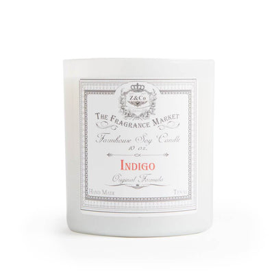 Farmhouse Indigo Candle white front MILK MONEY