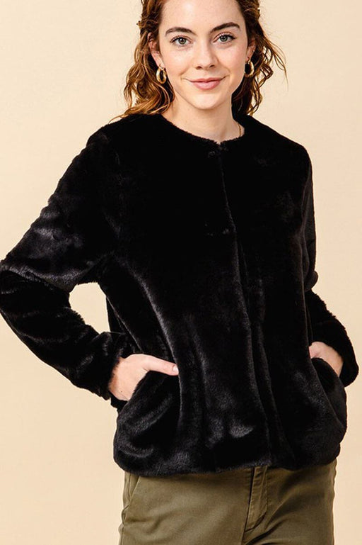 Faux Fur Crew Neck Jacket black front MILK MONEY