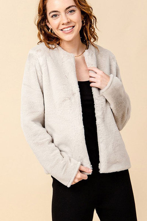 Faux Fur Crew Neck Jacket ivory MILK MONEY