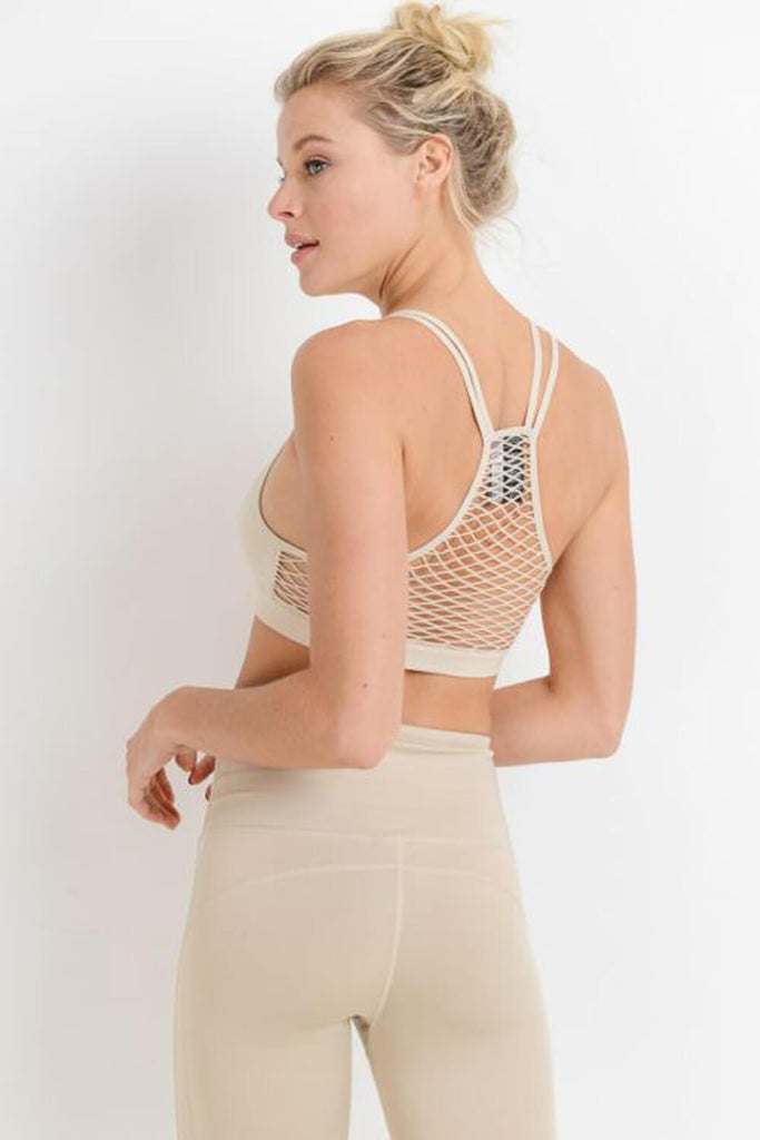 Fishnet Back Seamless Athleisure Sports Bra khaki detail MILK MONEY