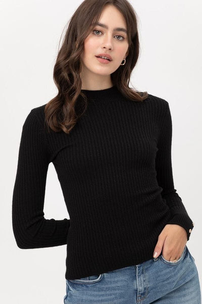 Fitted Ribbed Knit Sweater black front MILK MONEY
