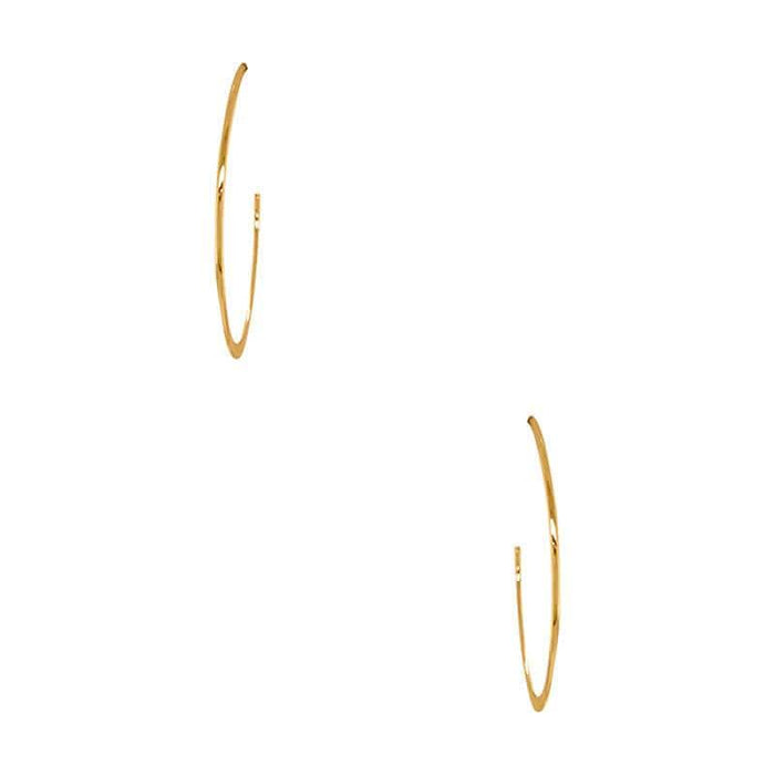 Flat and Skinny Hoop Earrings gold front MILK MONEY