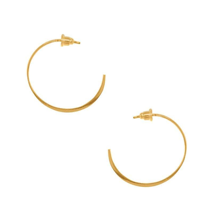 Flat and Skinny Hoop Earrings gold side MILK MONEY