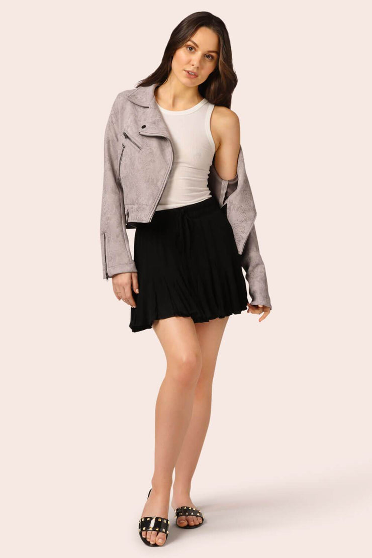Flirty Girl Ruffle Mini Skirt Black MILK MONEY full body