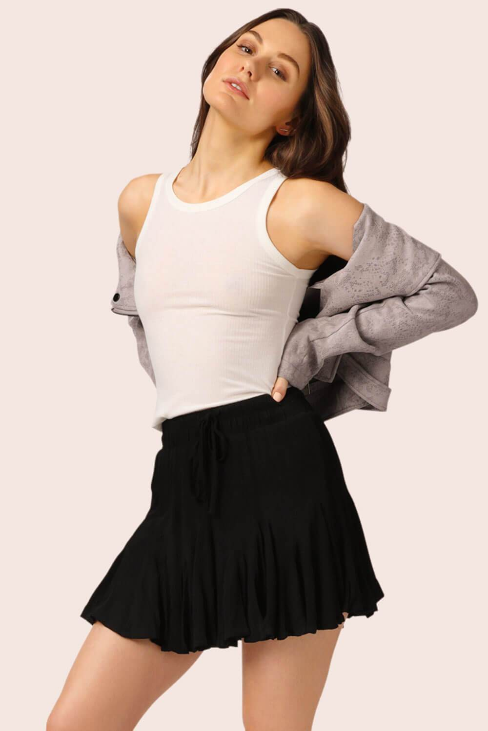 Flirty Girl Ruffle Mini Skirt Black MILK MONEY