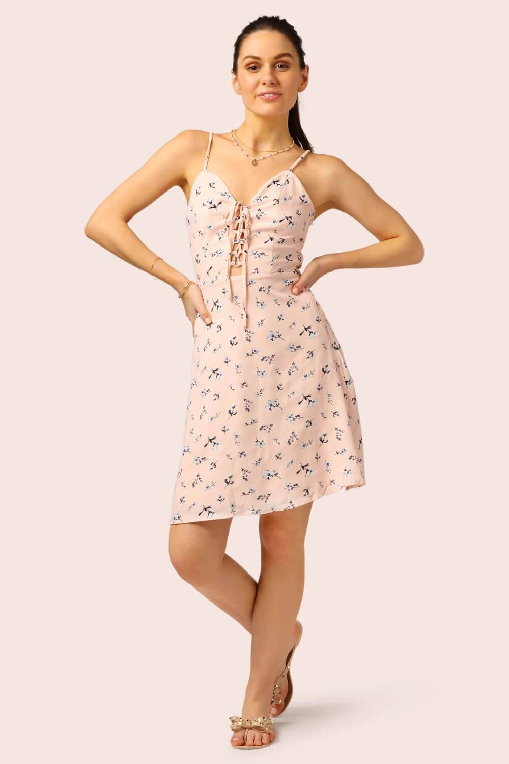Floral Lace Up mini Dress Pink - MILK MONEY