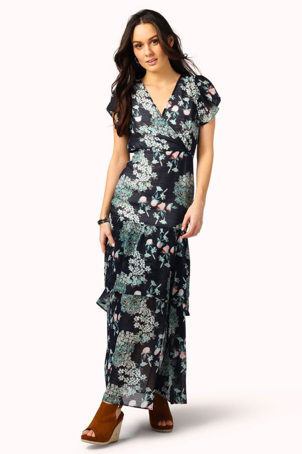 Floral Midi Ruffle Dress Blue MILK MONEY