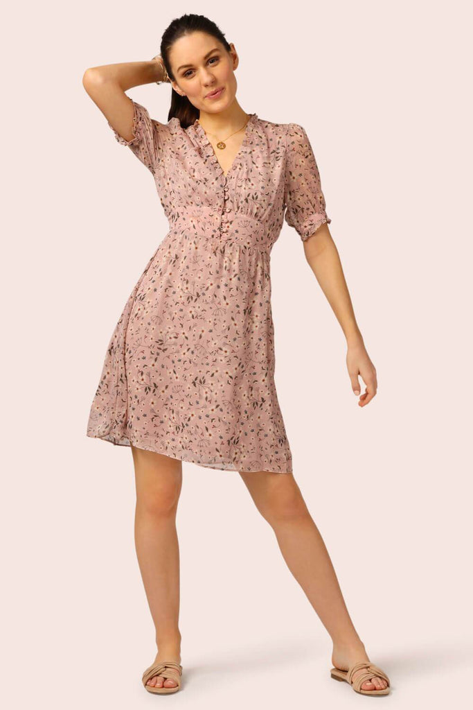 Floral Mini Button Top Dress Pink MILK MONEY