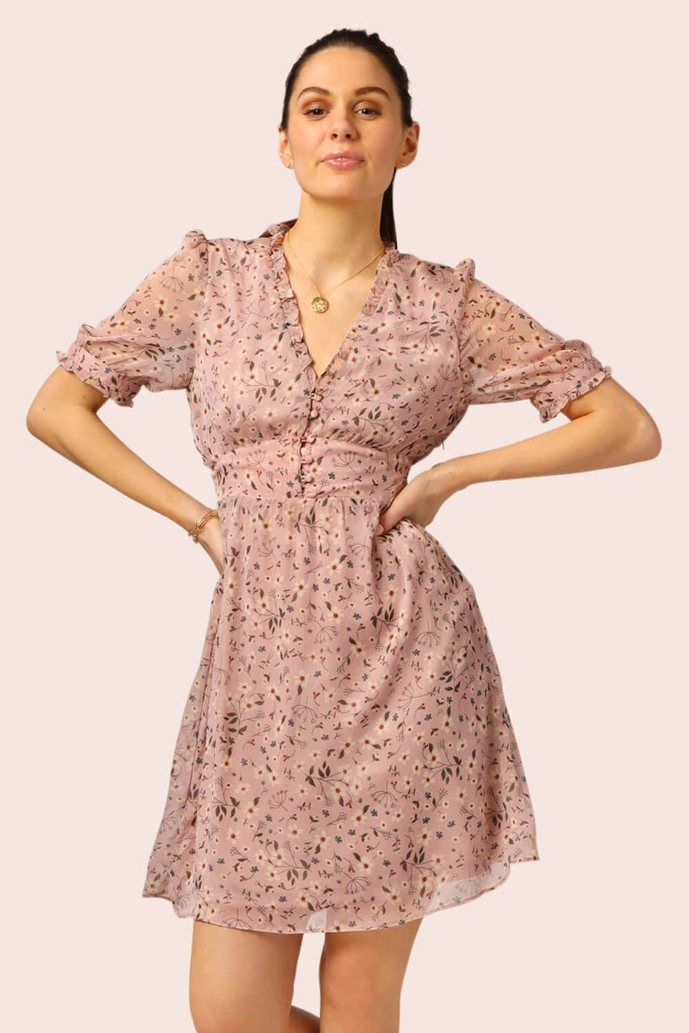 Floral Mini Button Top Dress Pink MILK MONEY close up