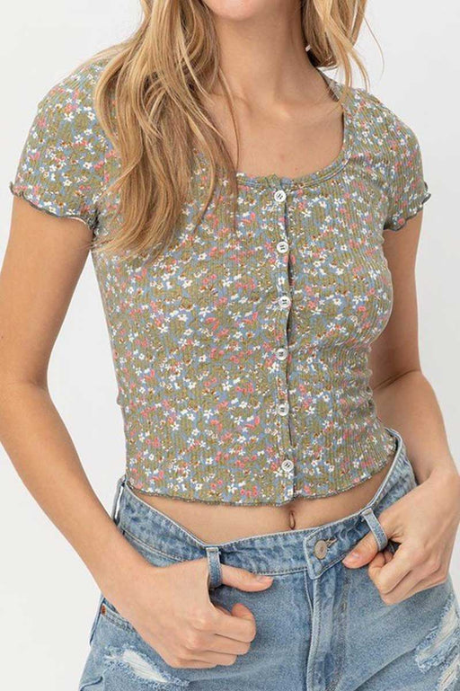 Floral Print Button Down Cropped Top sage front | MILK MONEY milkmoney.co | cute tops for women. trendy tops for women. stylish tops for women. pretty womens tops.