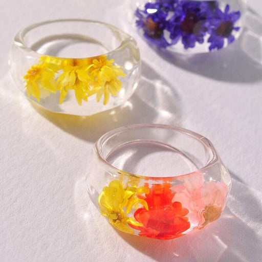 Women's Flower Pressed Resin Statement Ring group | MILK MONEY | milkmoney.co
