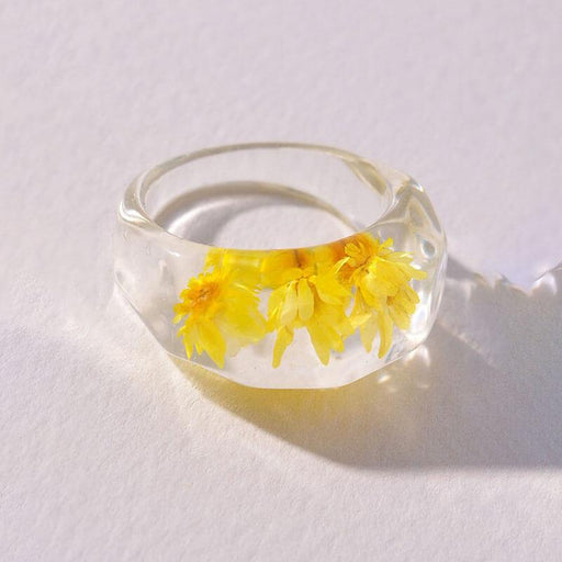 Women's Flower Pressed Resin Statement Ring yellow front | MILK MONEY | milkmoney.co