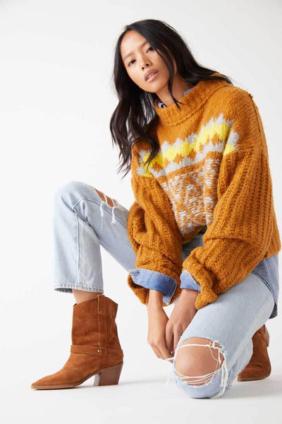 Free People Alpine Pullover cinnamon toast front MILK MONEY