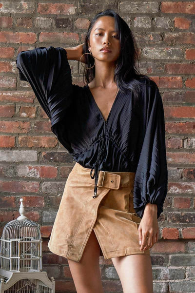 Free People Elouise Blouse black front MILK MONEY