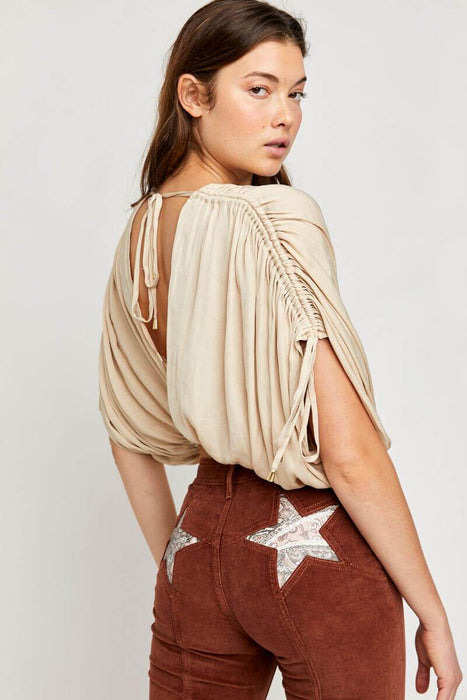 Free People Rachel Silky Top pearl army back MILK MONEY
