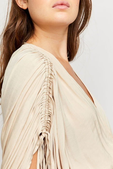 Free People Rachel Silky Top pearl island side MILK MONEY