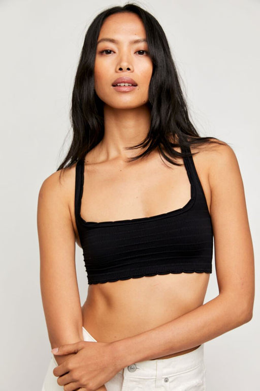 Free People Salida Seamless Bralette black front MILK MONEY