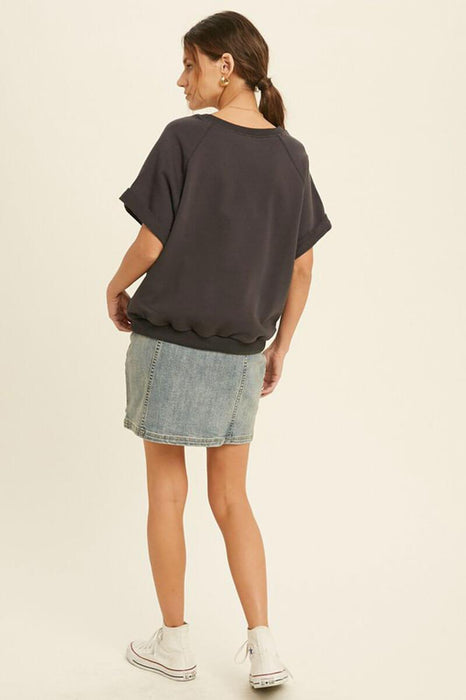 French Terry Raglan Top charcoal back | MILK MONEY milkmoney.co | A super loose fit trendy tops for women top featuring a fold cuff at sleeves and neck line, banded bottom.