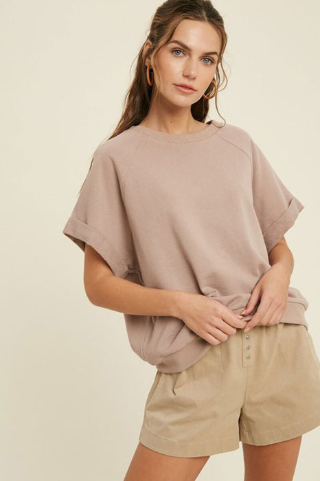 French Terry Raglan Top taupe front | MILK MONEY milkmoney.co | A super loose fit trendy tops for women top featuring a fold cuff at sleeves and neck line, banded bottom.