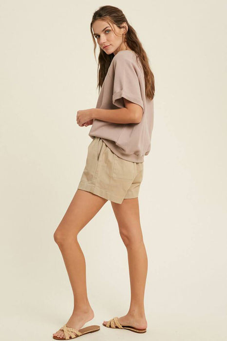 French Terry Raglan Top taupe side | MILK MONEY milkmoney.co | A super loose fit trendy tops for women top featuring a fold cuff at sleeves and neck line, banded bottom.