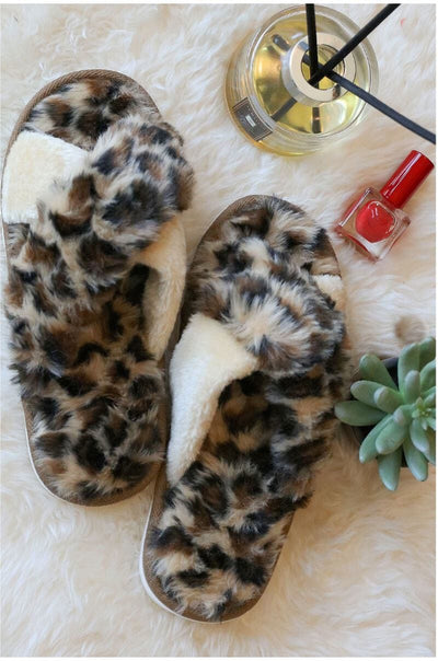 Fuzzy Cheetah Faux Fur Slippers brown MILK MONEY