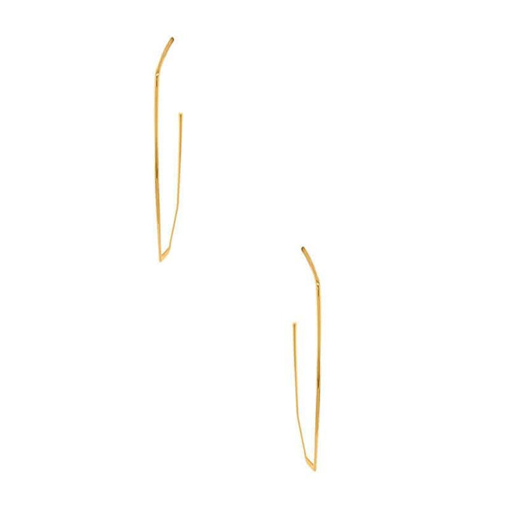Geometric Teardrop Long Hoop Earrings gold front MILK MONEY