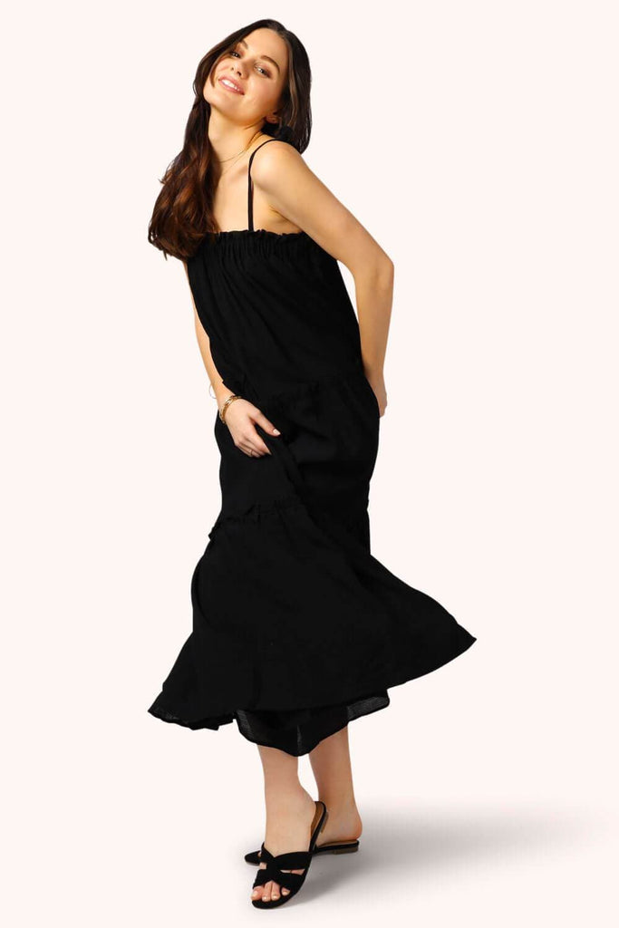 Getaway Ruffle Midi Dress Black 2 MILK MONEY